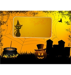 Halloween sign over spooky background vector image