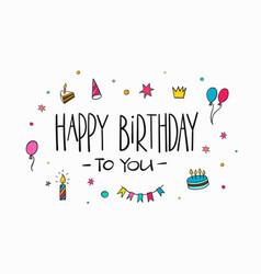 happy birthday lettering typography vector image vector image