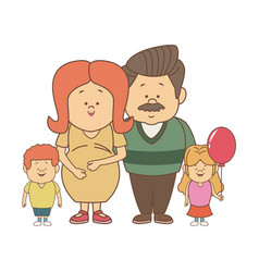 Happy young family dad and pregnant mother kids vector