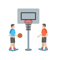 kids playing basketball vector image vector image