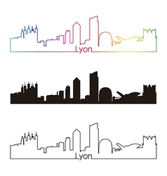 Lyon skyline linear style with rainbow vector