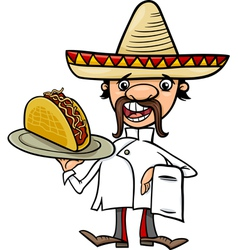 mexican chef with taco cartoon vector image