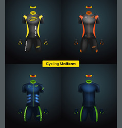 Realistic cycling uniforms branding mockup vector