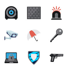 set of 9 editable security flat icons includes vector image vector image
