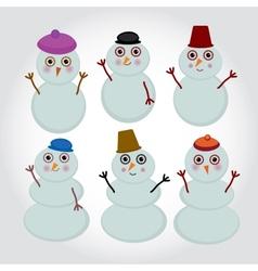 Set of cute cartoon snowmen for winter design vector image
