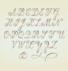 Set of golden copperplate monogram letters vector