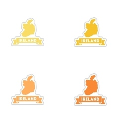 Set of paper stickers on white background Ireland vector image vector image