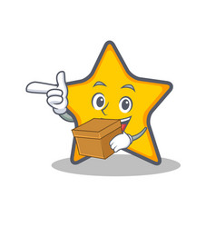 Star character cartoon style with box vector