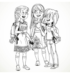 Three cute schoolgirl with a schoolbag socialize vector image vector image
