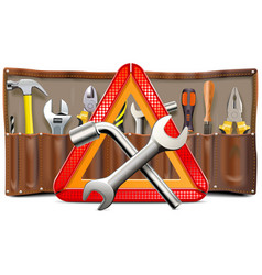 triangle sign with spanners and tools vector image vector image