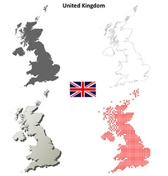 United kingdom outline map set vector