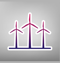 Wind turbines sign purple gradient icon vector
