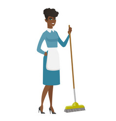 Young housemaid sweeping floor with a broom vector