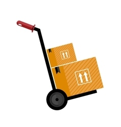 Trolley with boxes icon vector image