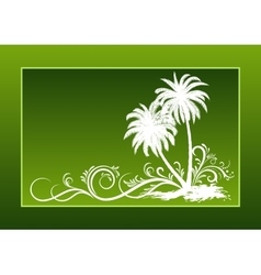 Palms silhouettes and floral pattern vector