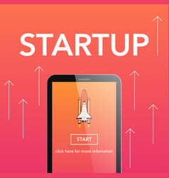 flat start up concept on phone vector image