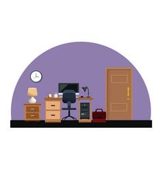 office room work desk chair lamp clock portfolio vector image