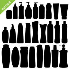 Cosmetics bottle silhouettes vector