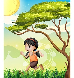 A girl running at the field vector image