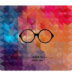 Retro glasses on colorful geometric background vector image