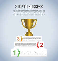 Step to success with winner trophy infographic vector