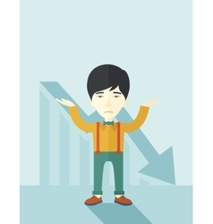 Guy raising his arms with arrow down graph vector