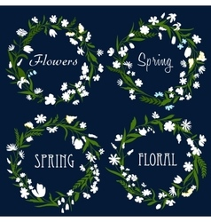 Set of pretty spring floral wreaths vector