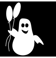 Funny ghost halloween balloons vector