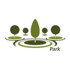 Park aicon with trimmed decorative trees vector