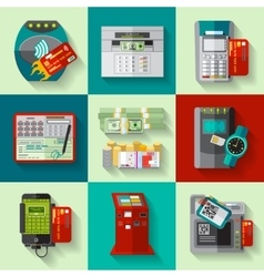 Payment methods flat icons set vector