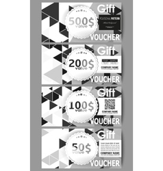 Set of modern gift voucher templates triangular vector