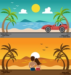 Romantic lover watching sunset and sport car in vector