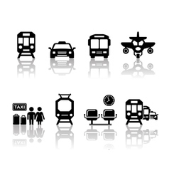 Transport icons with reflection vector