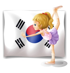 A ballet dancer in front of the South Korean flag vector image vector image