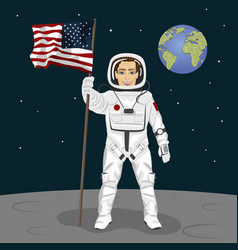 astronaut standing on the moon holding usa flag vector image