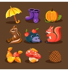 Autumn forest woodland animals flowers vector