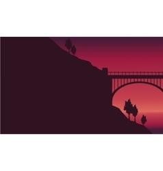 Beauty landscape at sunset bridge vector