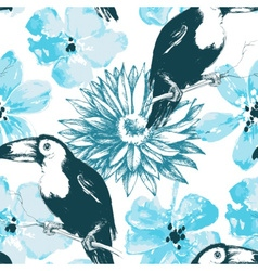 Birds and blue watercolor flowers seamless pattern vector