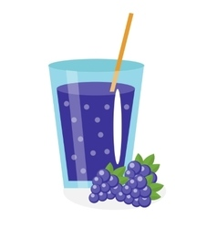 Blackberry juice in a glass Fresh mulberry vector image vector image