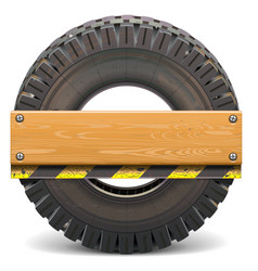Board with truck tire vector