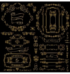 Calligraphic royal decor elementsgold frames vector