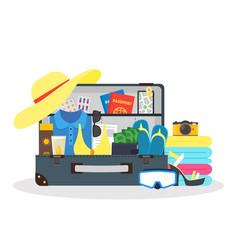 cartoon travel suitcase vector image vector image