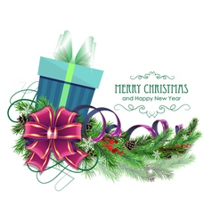 Christmas present with purple bow and fir branch vector image vector image