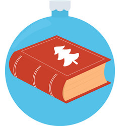 Closed red book on blue christmas vector