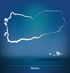 Doodle Map of Yemen vector image