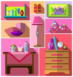 Girls bedroom furniture sets vector