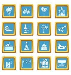 Happy birthday icons azure vector