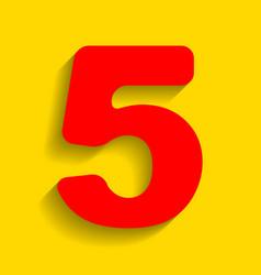 Number 5 sign design template element red vector