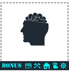 Open mind icon flat vector
