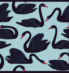 seamless hand painted black swans pattern vector image